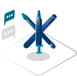 Crossed syringes icon graphic